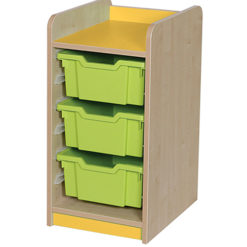 KubbyClass-Single-Bay-3-Deep-Tray-Classroom-Storage-Unit-707mm-High-Orange-Nobis-Education-Furniture