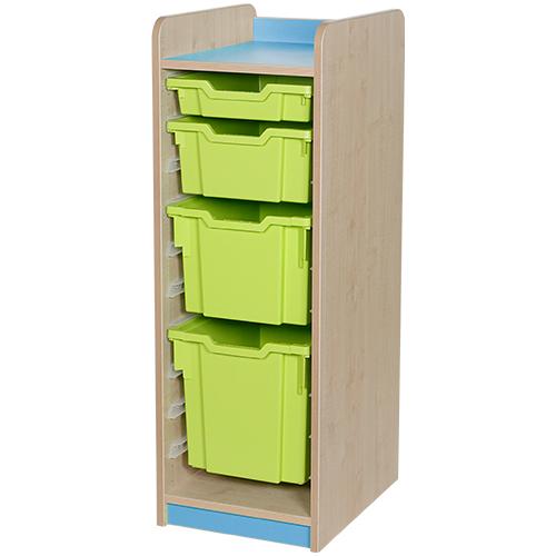 classroom single bay 4 tray combination unit light blue
