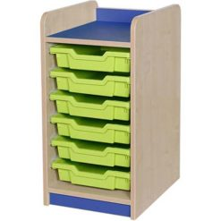 Classroom single bay 6 tray storage unit blue