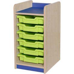 Classroom single bay 6 tray storage unit blue