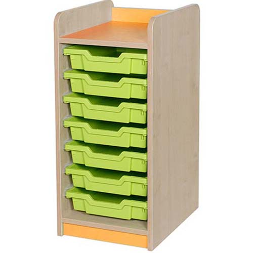 classroom single bay 7 tray storage unit orange
