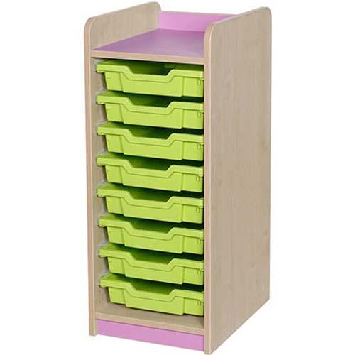 classroom single bay 9 tray storage unit lilac