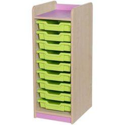 classroom single bay 9 tray storage unit green
