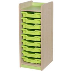 classroom single bay 9 tray storage unit green
