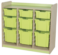 classroom triple bay 9 tray combination storage unit green