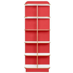 KubbyClass-Polar-School-Library-D-End-Cap-Bookcase-1750mm-High-Red-Nobis-Education-Furniture