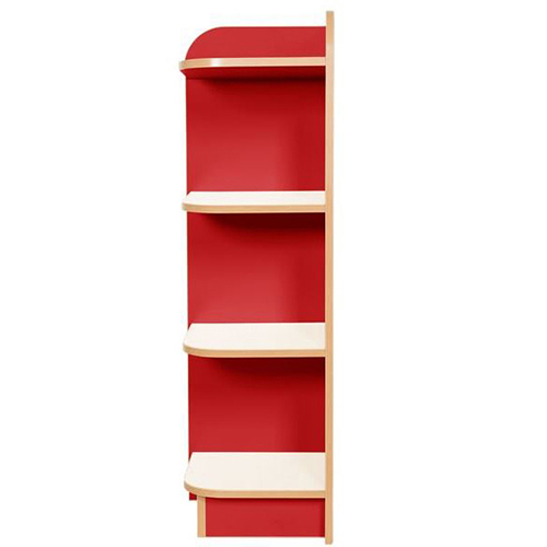 KubbyClass-Polar-School-Library-Left-Hand-End-Bookcase-1250mm -High-Red-Nobis-Education-Furniture