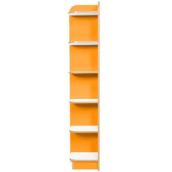 KubbyClass-Polar-School-Library-Left-Hand-End-Bookcase-1750mm -High-Orange-Nobis-Education-Furniture