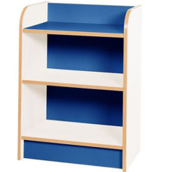 KubbyClass-Polar-School-Library-Slimline-Single-Sided-Bookcase-Blue-750mm-High-Nobis-Education-Furniture