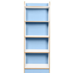 KubbyClass-Polar-School-Library-Slimline-Single-Sided-Bookcase-Light-Blue-2000mm-High-Nobis-Education-Furniture