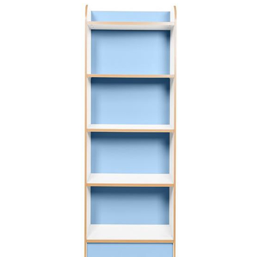 KubbyClass-Polar-School-Library-Slimline-Single-Sided-Bookcase-Light-Blue-2000mm-High-Nobis-Education-Furniture