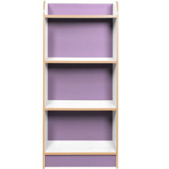 KubbyClass-Polar-School-Library-Slimline-Single-Sided-Bookcase-Lilac-1250mm-High-Nobis-Education-Furniture