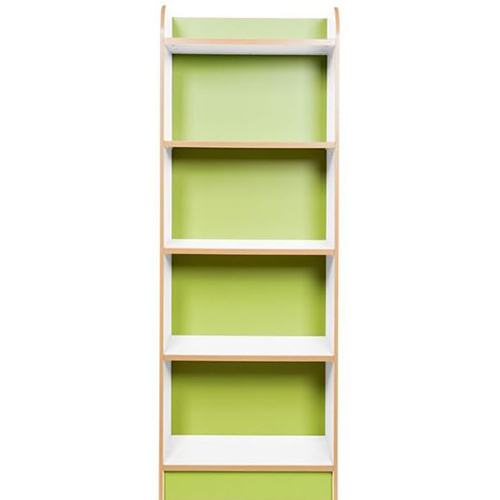 KubbyClass-Polar-School-Library-Slimline-Single-Sided-Bookcase-Lime-Green-1500mm-High-Nobis-Education-Furniture