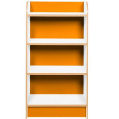 KubbyClass-Polar-School-Library-Slimline-Single-Sided-Bookcase-Orange-1000mm-High-Nobis-Education-Furniture