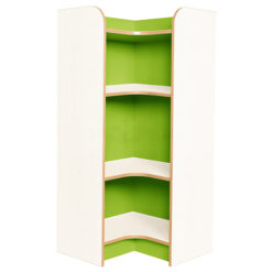 Kubbyclass-Polar-School-Library-Internal-Corner-Bookcase-1250mm -High-Lime-Green-Nobis-Education-Furniture