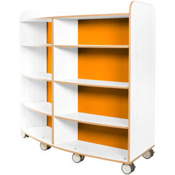 KubbyClass-Polar-School-Library-Curved-Mobile-Bookcase-1500mm-High-Orange-Nobis-Education-Furniture