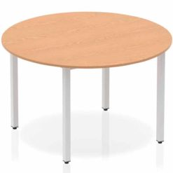 The-Impulse-Classroom-Deluxe-Round-Meeting-Table-Silver-Coated-Box-Leg-Oak-1200mm-Nobis-Education-Furniture
