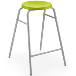 The-Polypropylene-Round-Top-Classroom-Stacking-Stool-610mm-High-Green-Nobis-Education-Furniture
