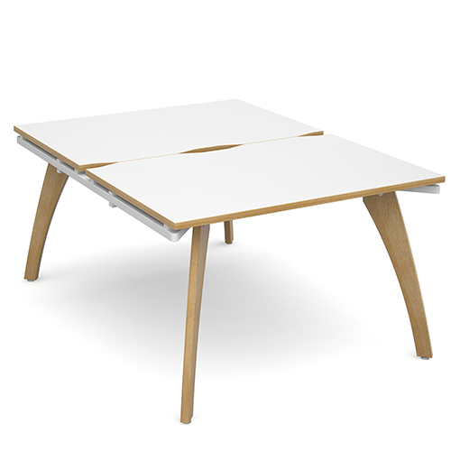 Fuze-Back-To-Back-White-with-Oak-Edge-School-Bench-Desk-Starter-Units-1200mm-x-1600mm-Nobis Eduation-Furniture