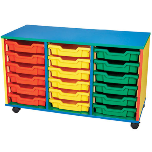 This is a 18 tray triple bay unit with colorful sides