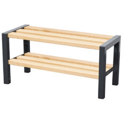 1200mm cloakroom bench with slated seat and shoe rack