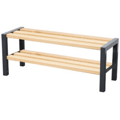 1500mm cloakroom bench with slated seat and shoe rack