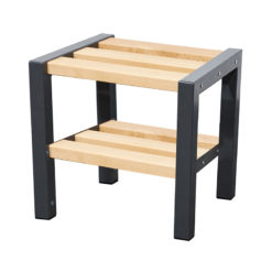 600mm cloakroom bench with slated seat and shoe rack