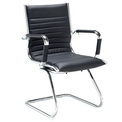 Nobis Office Furniture - Bari executive visitors chair - black faux leather