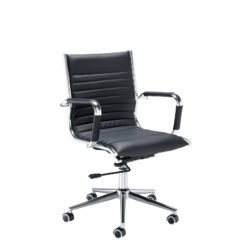 Nobis Office Furniture - Bari medium back executive chair - black faux leather