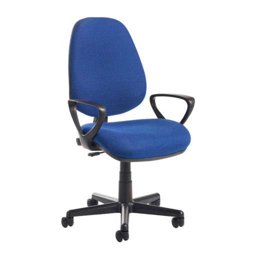 Nobis Office Furniture - Bilbao fabric operators chair with fixed arms - blue