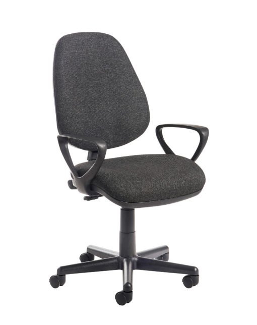 Nobis Office Furniture - Bilbao fabric operators chair with fixed arms - charcoal