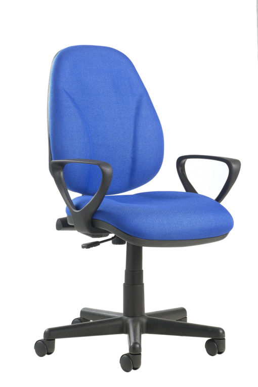 Nobis Office Furniture - Bilbao fabric operators chair with lumbar support and fixed arms - blue