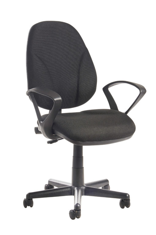 Nobis Office Furniture - Bilbao fabric operators chair with lumbar support and fixed arms - black
