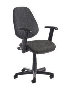 Nobis Office Furniture - Bilbao fabric operators chair with adjustable arms - charcoal