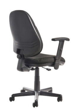 Bilbao fabric operators chair with lumbar support and adjustable arms - black