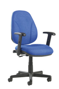 Nobis Office Furniture - Bilbao fabric operators chair with lumbar support and adjustable arms - blue