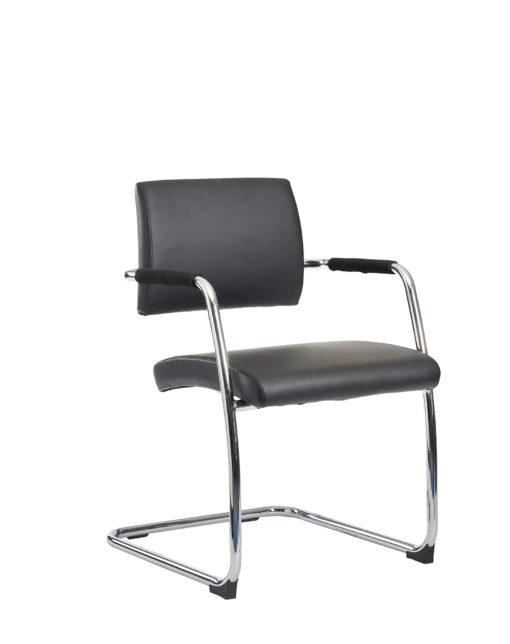 Nobis Office Furniture - Bruges meeting room cantilever chair (pack of 2) - black faux leather