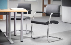 Bruges meeting room cantilever chair (pack of 2) - black faux leather