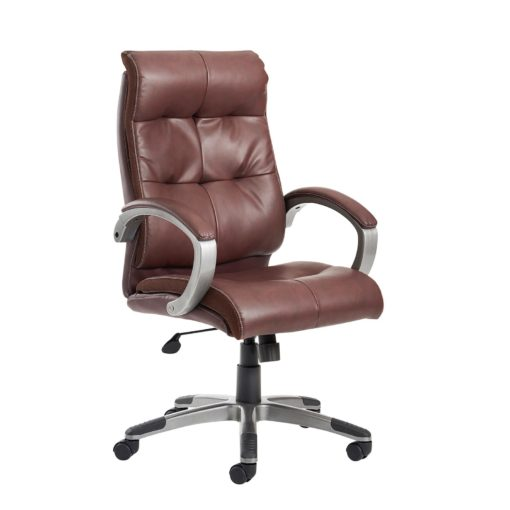 Nobis Office Furniture - Catania high back managers chair - brown leather faced