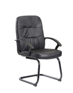 Nobis Office Furniture - Cavalier executive visitors chair - black leather faced