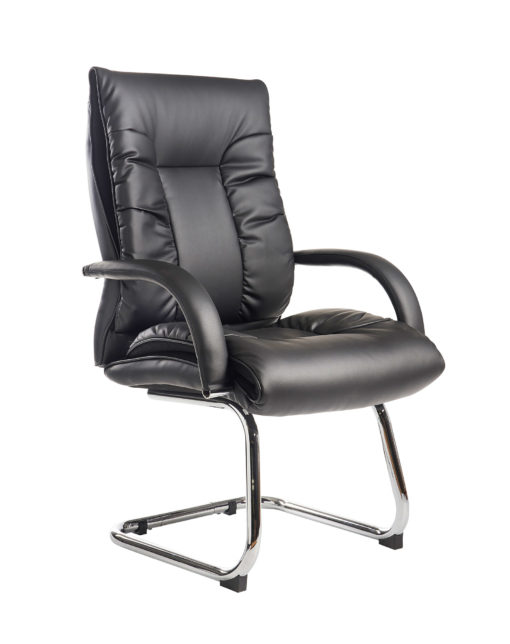 Nobis Office Furniture - Derby high back visitors chair - black faux leather