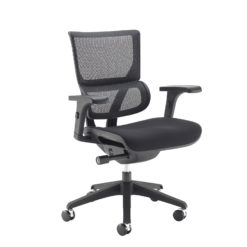 Nobis Office Furniture - Dynamo mesh back posture chair with black frame and black airmex seat