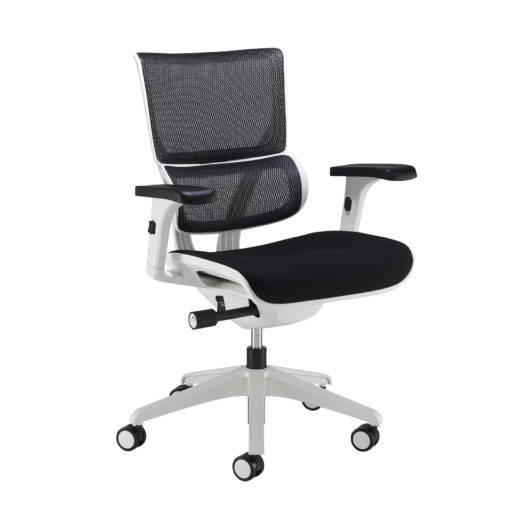 Nobis Office Furniture - Dynamo mesh back posture chair with white frame and black airmex seat