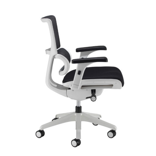Dynamo mesh back posture chair with white frame and black airmex seat