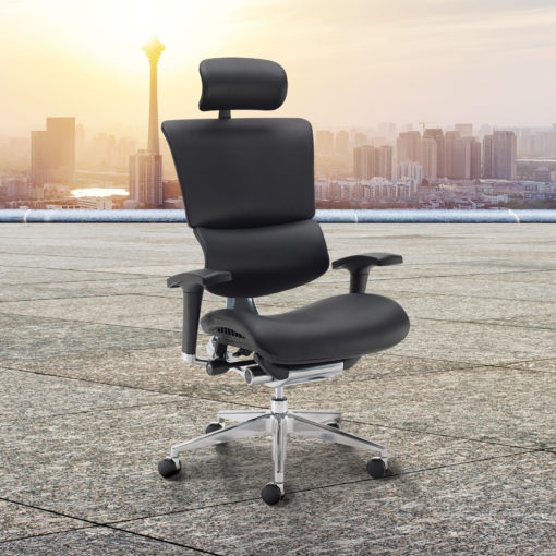 Dynamo Ergo leather posture chair with chrome base and head rest - black
