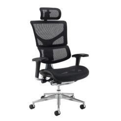 Nobis Office Furniture - Dynamo Ergo mesh back posture chair with chrome base and head rest - black