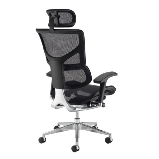 Dynamo Ergo mesh back posture chair with chrome base and head rest - black