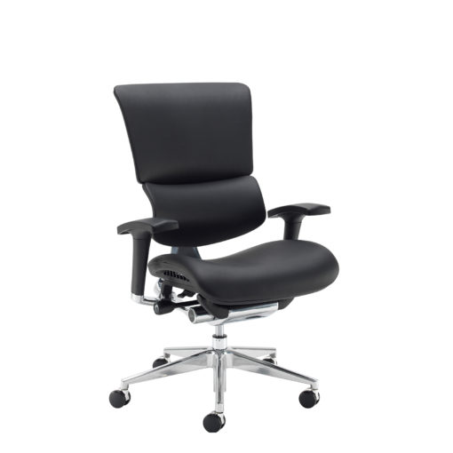 Nobis Office Furniture - Dynamo Ergo leather posture chair with chrome base - black