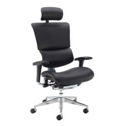 Nobis Office Furniture - Dynamo Ergo leather posture chair with chrome base and head rest - black