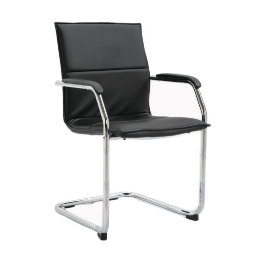 Nobis Office Furniture - Essen stackable meeting room cantilever chair - black faux leather